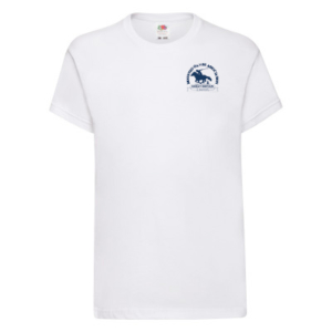 Kids white T-shirt blue logo