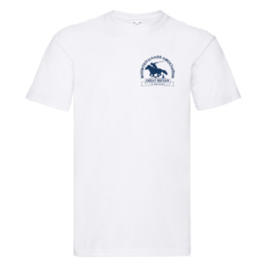 Mens white T-shirt blue logo