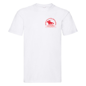 Mens white T-shirt red logo