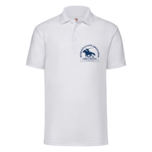 Mens white polo shirt blue logo