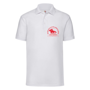 Mens white polo shirt red logo