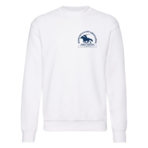 Mens white sweatshirt blue logo