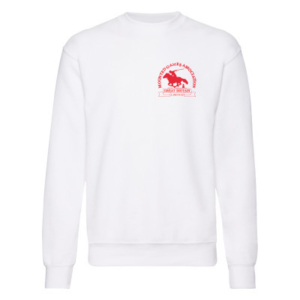 Mens white sweatshirt red logo
